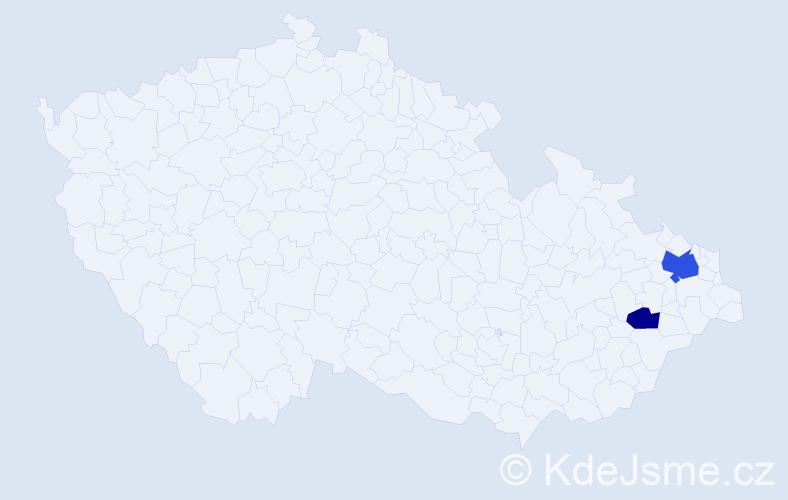 Příjmení: 'Čemy', počet výskytů 4 v celé ČR