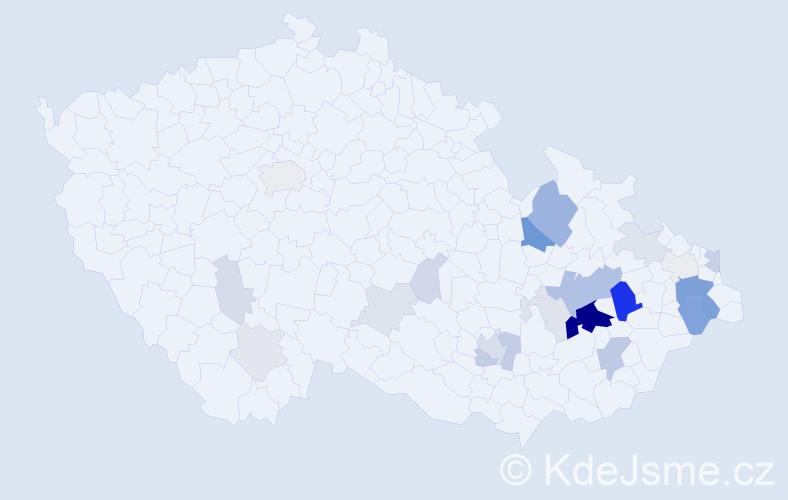 Příjmení: 'Haluzíková', počet výskytů 77 v celé ČR