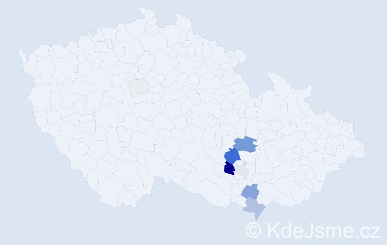 Příjmení: 'Hlavůňková', počet výskytů 11 v celé ČR