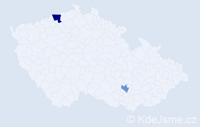 Příjmení: 'Deliu', počet výskytů 4 v celé ČR