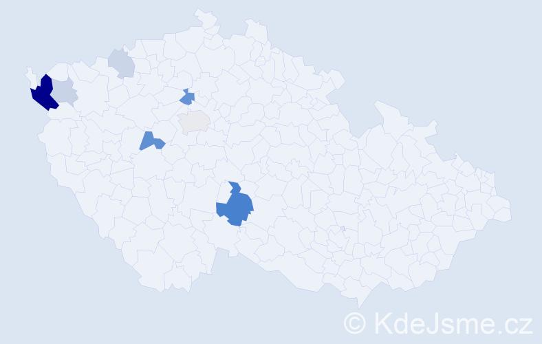 Příjmení: 'Čehák', počet výskytů 21 v celé ČR