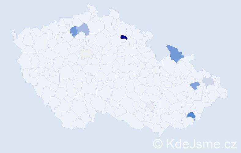 Příjmení: 'Jadavan', počet výskytů 18 v celé ČR