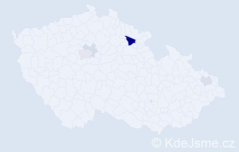 Příjmení: 'Dudra', počet výskytů 13 v celé ČR