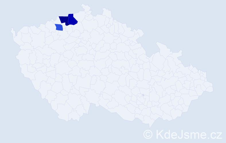 Příjmení: 'Handzová', počet výskytů 5 v celé ČR