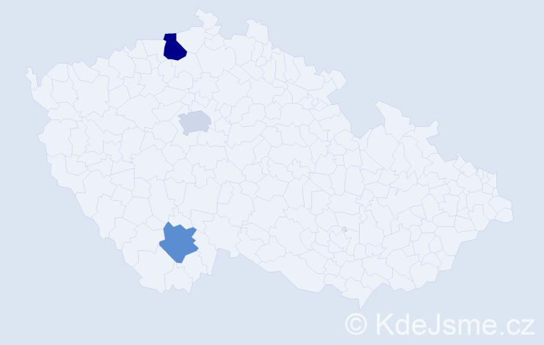 Příjmení: 'Inderholzová', počet výskytů 4 v celé ČR