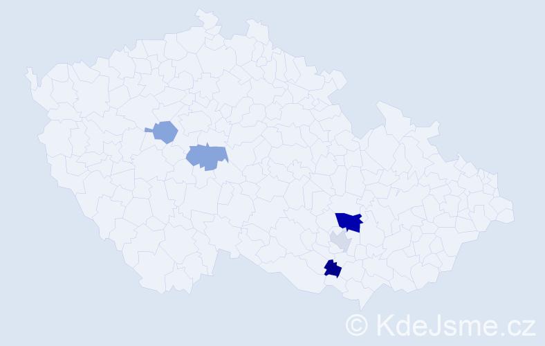 Příjmení: 'Kopanická', počet výskytů 8 v celé ČR