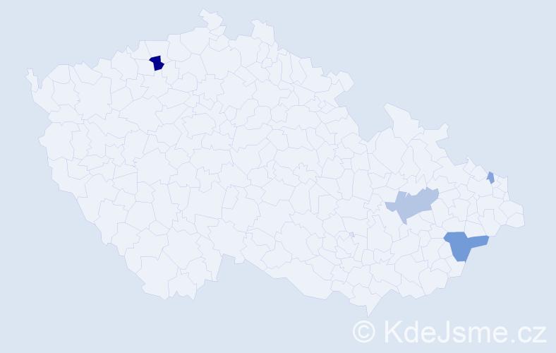 Příjmení: 'Iljazi', počet výskytů 9 v celé ČR