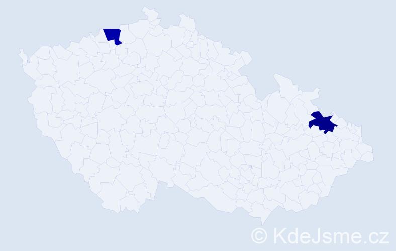 Příjmení: 'Kepšová', počet výskytů 2 v celé ČR
