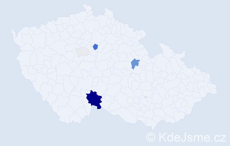 Příjmení: 'Keníž', počet výskytů 7 v celé ČR