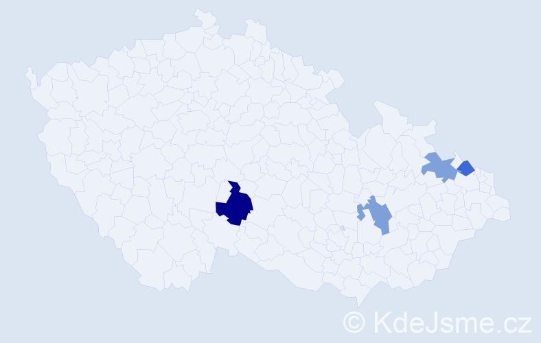 Příjmení: 'Gavruca', počet výskytů 5 v celé ČR