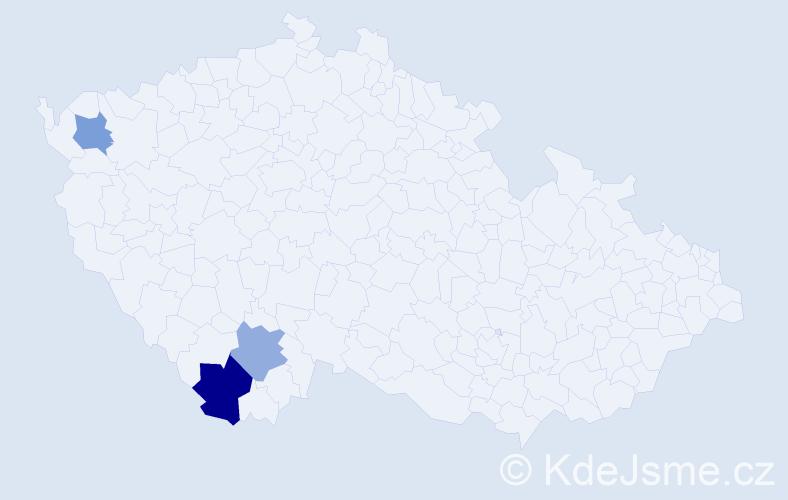 Příjmení: 'Chaluperová', počet výskytů 8 v celé ČR