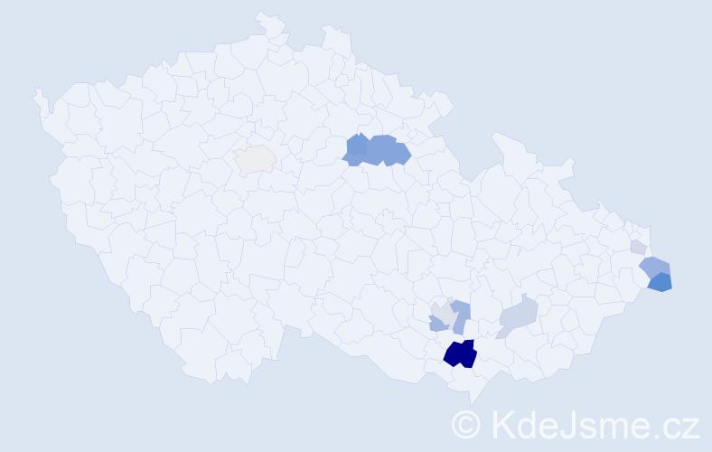 Příjmení: 'Jasinek', počet výskytů 24 v celé ČR