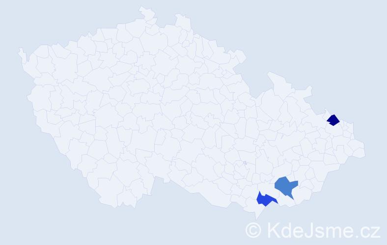 Příjmení: 'Čegl', počet výskytů 3 v celé ČR