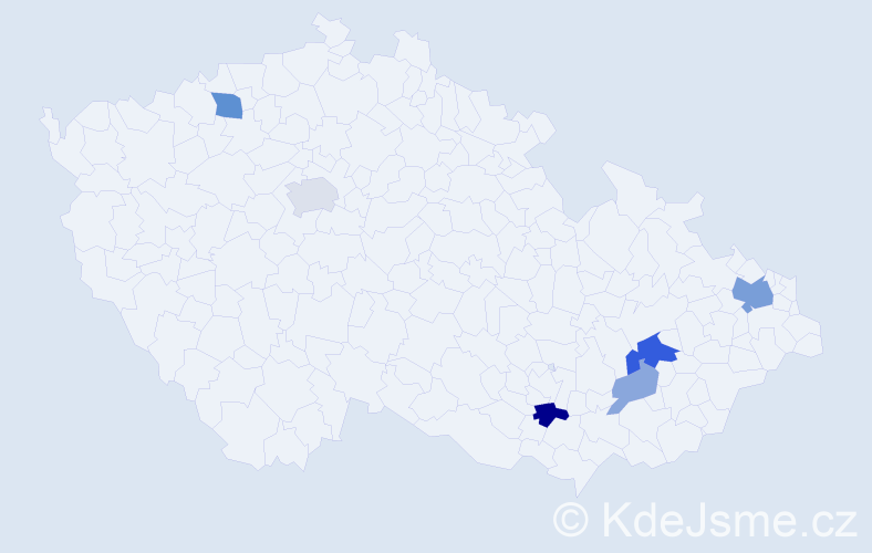 Příjmení: 'Chupáčová', počet výskytů 14 v celé ČR