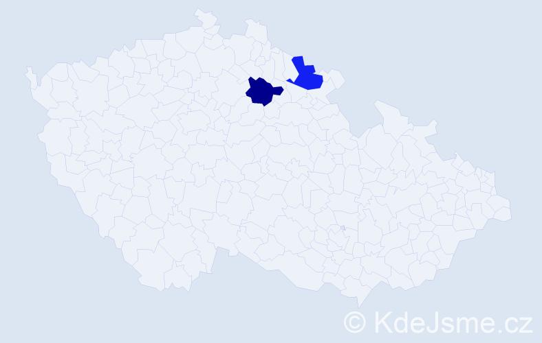 Příjmení: 'Jaričková', počet výskytů 2 v celé ČR