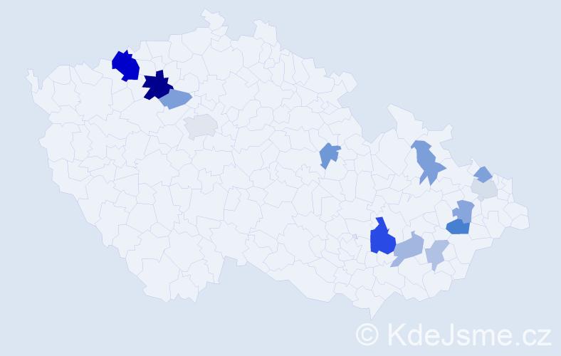 Příjmení: 'Habuda', počet výskytů 25 v celé ČR