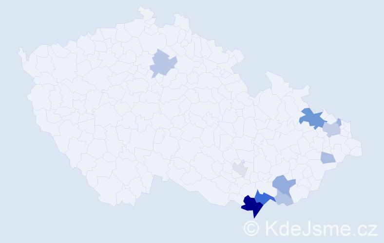 Příjmení: 'Garšic', počet výskytů 39 v celé ČR