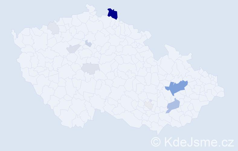 Příjmení: 'Čečatka', počet výskytů 35 v celé ČR