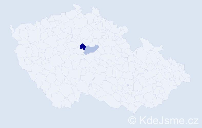 Příjmení: 'Čokrt', počet výskytů 3 v celé ČR