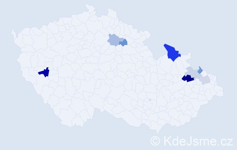 Příjmení: 'Današ', počet výskytů 15 v celé ČR
