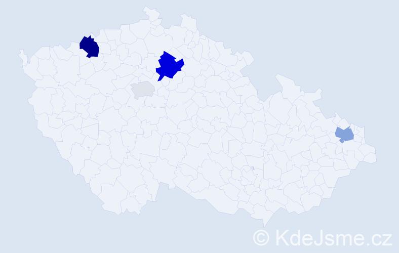Příjmení: 'Ďurčovič', počet výskytů 9 v celé ČR