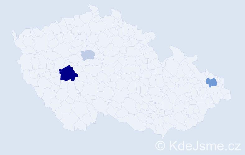 Příjmení: 'Danielčáková', počet výskytů 3 v celé ČR