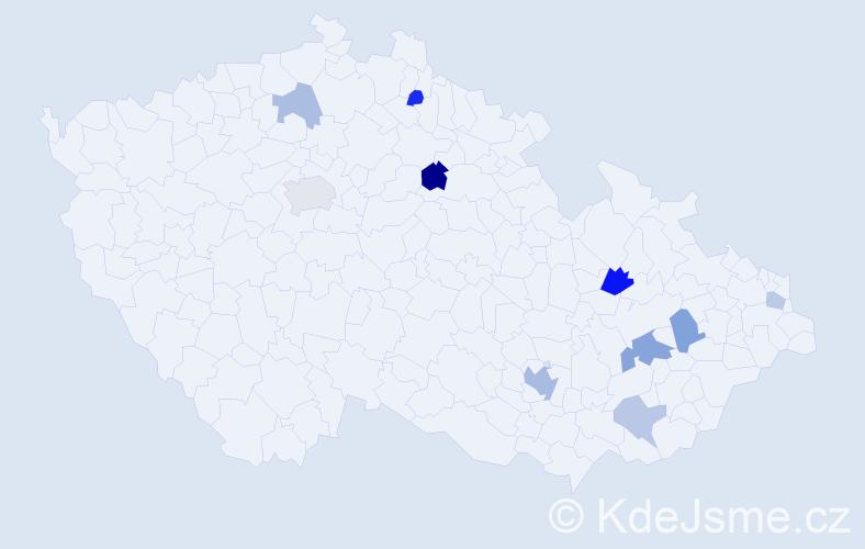 Příjmení: 'Čičová', počet výskytů 17 v celé ČR