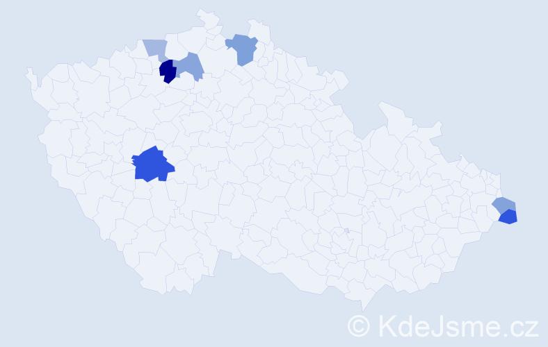 Příjmení: 'Čilová', počet výskytů 12 v celé ČR