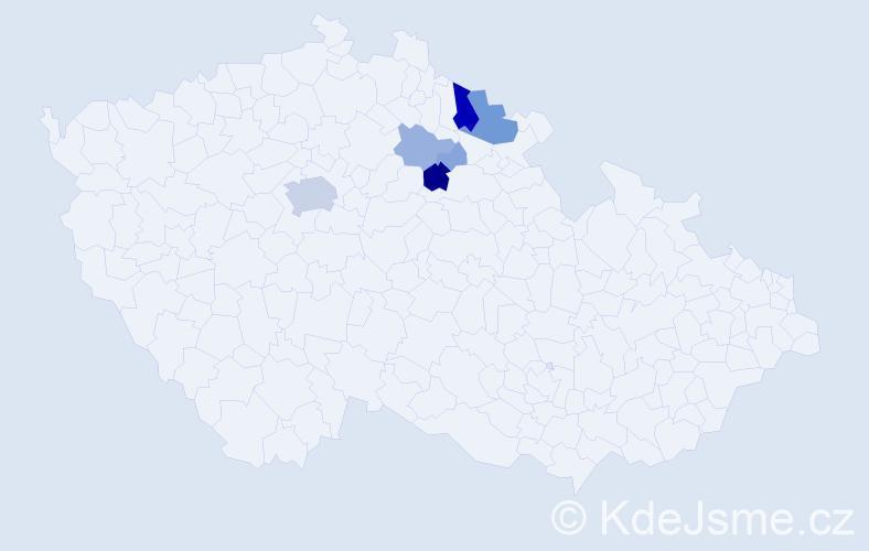 Příjmení: 'Hník', počet výskytů 31 v celé ČR