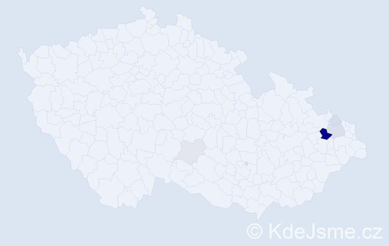 Příjmení: 'Bachořík', počet výskytů 17 v celé ČR