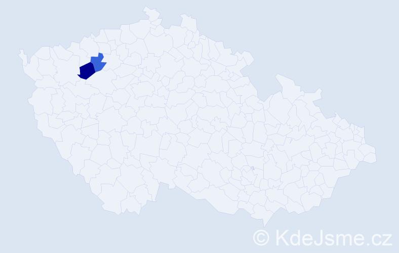 Příjmení: 'Čučvarová', počet výskytů 4 v celé ČR