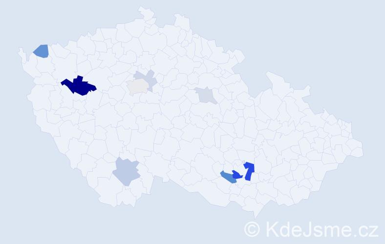 Příjmení: 'Kafrdová', počet výskytů 20 v celé ČR