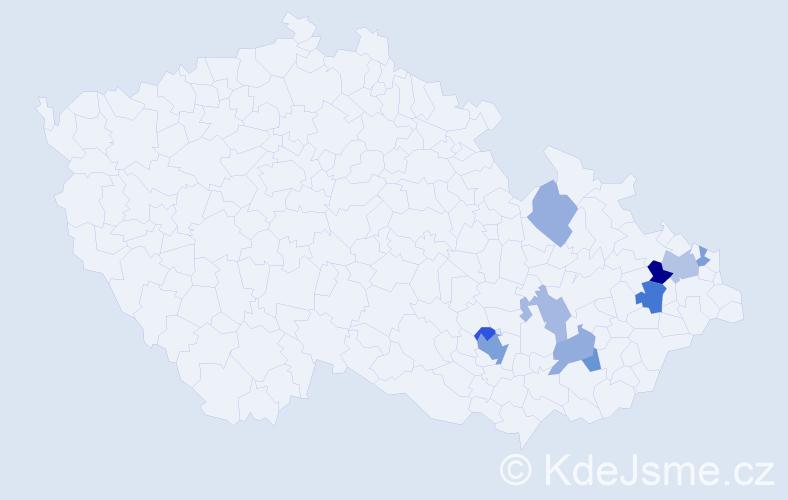 Příjmení: 'Garecová', počet výskytů 17 v celé ČR