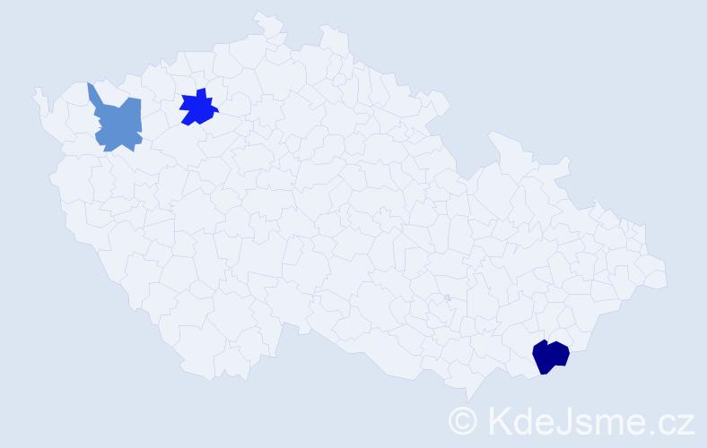 Příjmení: 'Čičalová', počet výskytů 11 v celé ČR