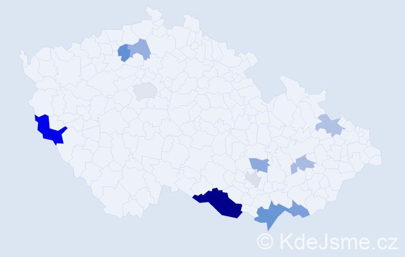 Příjmení: 'Kocáková', počet výskytů 23 v celé ČR