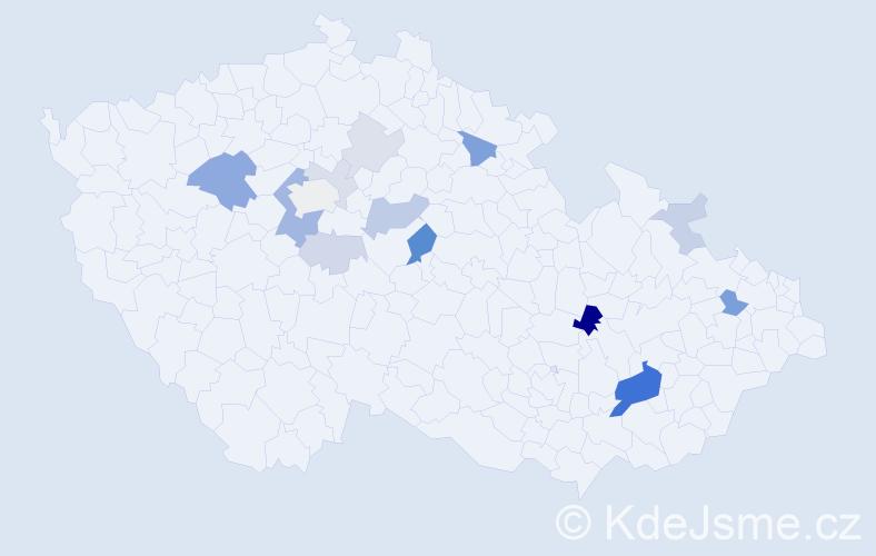 Příjmení: 'Bereczová', počet výskytů 34 v celé ČR
