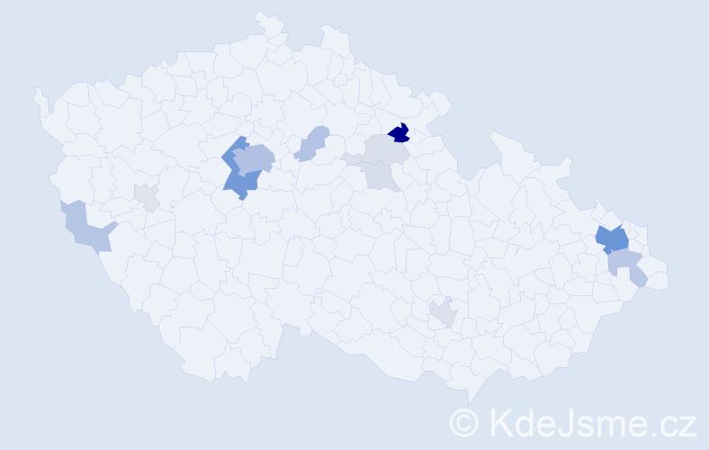 Příjmení: 'Chlupatá', počet výskytů 52 v celé ČR