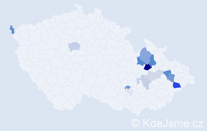 Příjmení: 'Jurčíčková', počet výskytů 27 v celé ČR