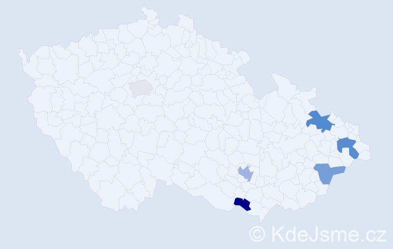 Příjmení: 'Cádrik', počet výskytů 9 v celé ČR