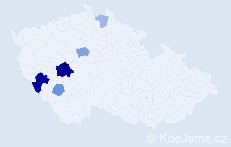 Příjmení: 'Celerýn', počet výskytů 19 v celé ČR