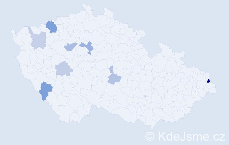 Příjmení: 'Izsáková', počet výskytů 15 v celé ČR