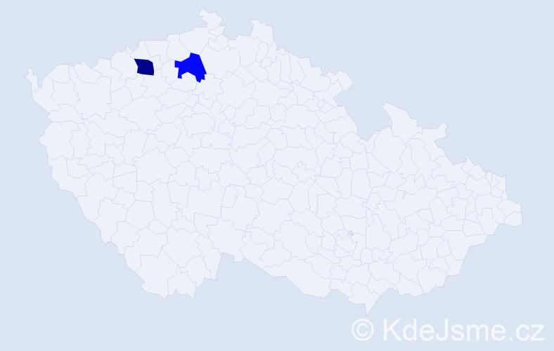Příjmení: 'Kavura', počet výskytů 5 v celé ČR
