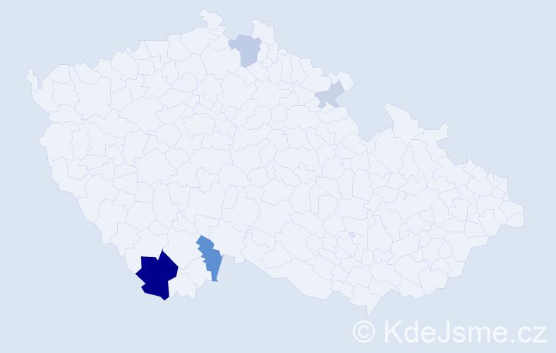 Příjmení: 'Biňovský', počet výskytů 13 v celé ČR