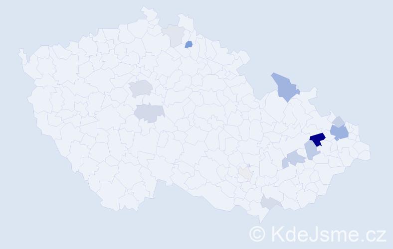 Příjmení: 'Klézl', počet výskytů 35 v celé ČR
