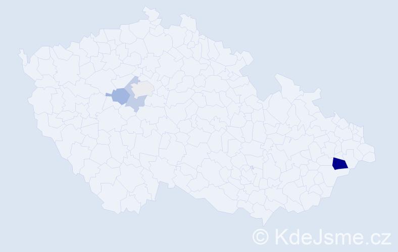 """Příjmení: '""""El Bakri""""', počet výskytů 7 v celé ČR"""