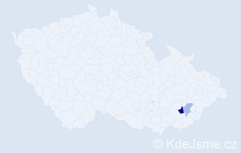 Příjmení: 'Glůza', počet výskytů 4 v celé ČR