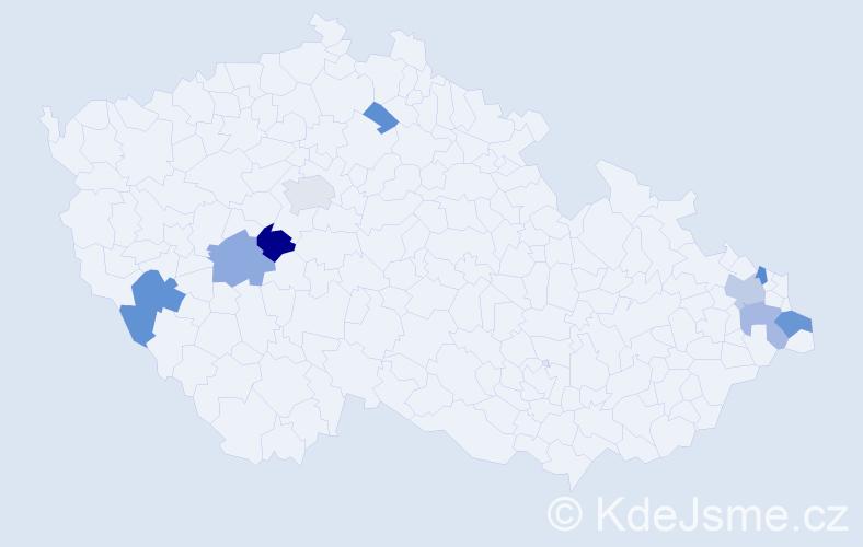 Příjmení: 'Boroň', počet výskytů 22 v celé ČR