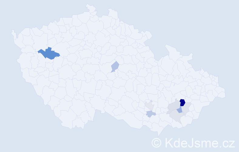 Příjmení: 'Julíčková', počet výskytů 19 v celé ČR