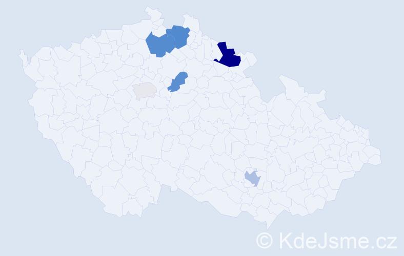 Příjmení: 'Jaďuďová', počet výskytů 13 v celé ČR