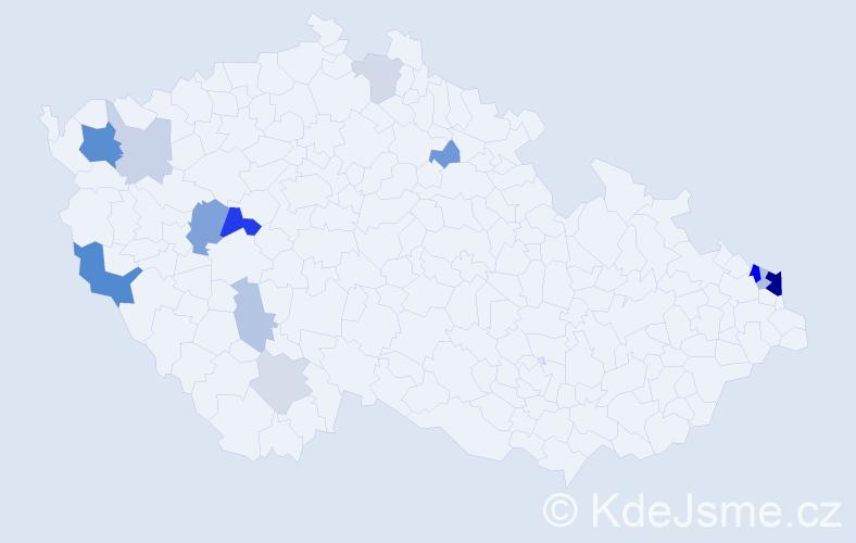 Příjmení: 'Hamrus', počet výskytů 34 v celé ČR